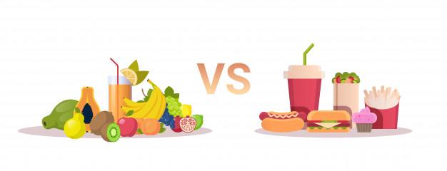 La malbouffe contre les aliments sains